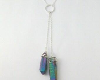 Iridescent Titanium Quartz Wire Wrapped Sterling Silver Lariat Necklace