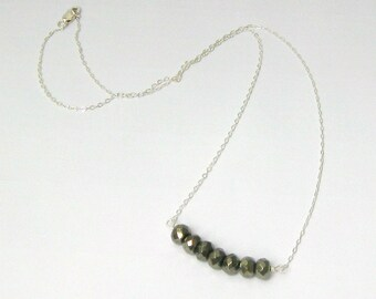 Pyrite Beads on Sterling Silver Bar Necklace - 18 inches