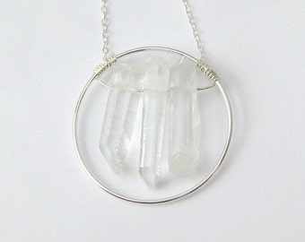 Quartz Crystal Wire Wrapped Pendant Sterling Silver Necklace - 18 Inches