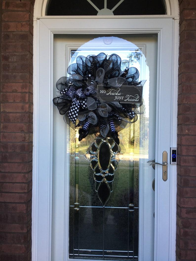 fall wreath Trick or treat wreath halloween mesh wreath halloween wreath halloween decor fall decor front door wreath witch wreath