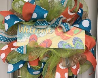 Summer flip flop wreath, mesh wreath, bright summer wreath