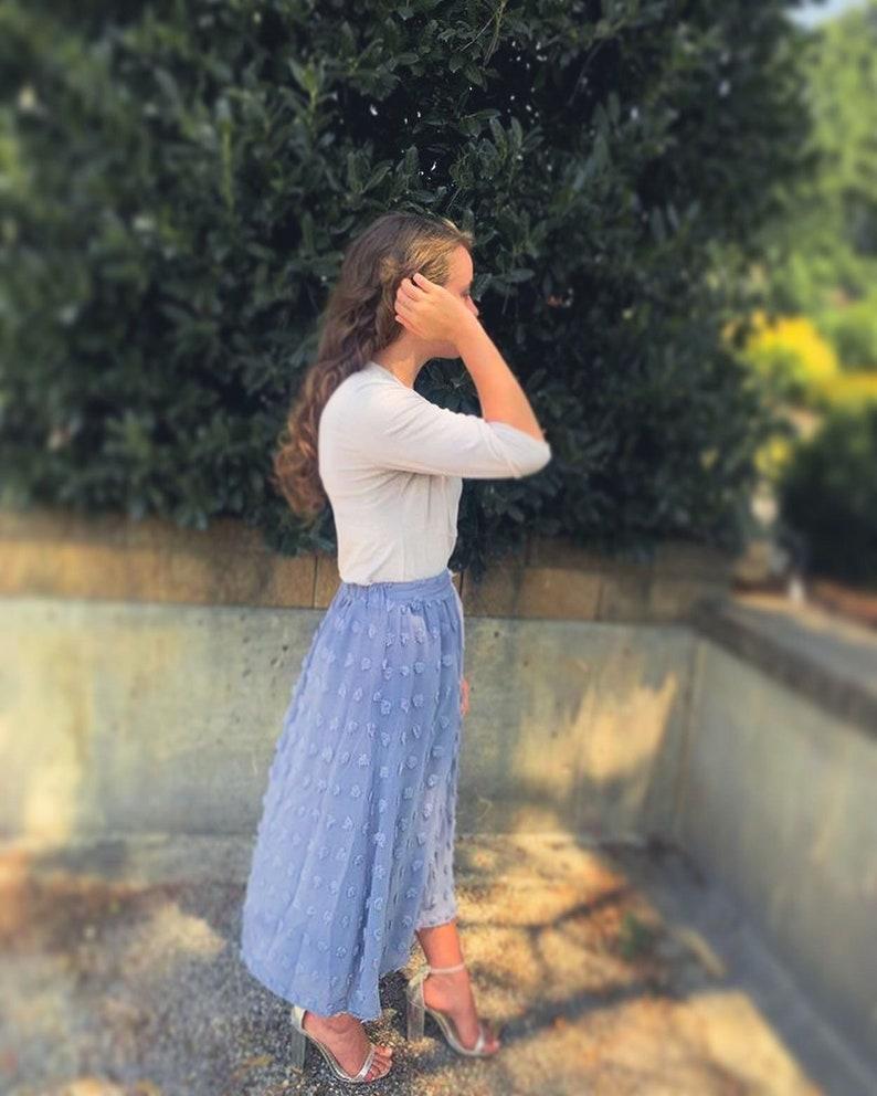 Dusty Blue Midi Skirt Burgundy Midi Skirt Swiss Dot Midi Skirt Swiss Dot