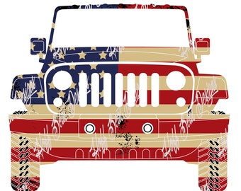 American Flag Jeep Digital Download - png, jpg, design - patriotic, July 4th, Independence Day