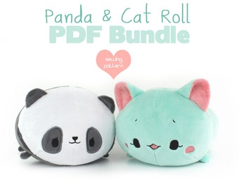 "PDF sewing pattern bundle - Panda and Cat Roll loaf stacking plush - easy kawaii cute DIY 12"" large anime plushie stuffed soft toy"
