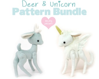 "PDF sewing pattern bundle - Deer Reindeer Unicorn Pegasus stuffed animal with VIDEO tutorials - 2 sizes 5"" 10"" easy plush kawaii"