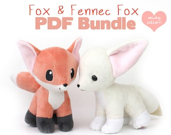 PDF sewing pattern bundle - Fox and Fennec stuffed animal with video tutorials - wolf canine dog Pokemon plushie kawaii plush 12""