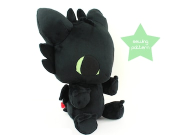 "PDF sewing pattern - Baby Dragon plushie - kawaii plush DIY big 13"" cuddly stuffed animal soft toy plushie anime monster"