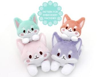 ITH In the hoop plush pattern - corgi dog embroidery machine design plushie - kawaii anime stuffed animal DIY stuffie