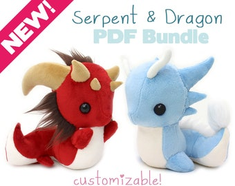 "PDF sewing pattern with videos - Snake and Dragon stuffed animals - kawaii DIY art doll plush plushie soft toy 9"" serpent basilisk leviathan"