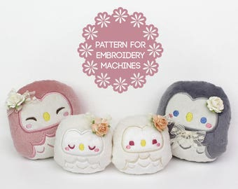 ITH In The Hoop embroidery machine design toy owl pattern - FAST 45min easy beginner 2 sizes 4 faces - kawaii stuffed animal beanie