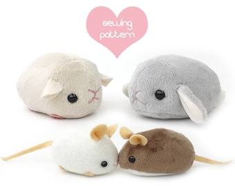 "PDF sewing pattern - stuffed animal hamster mouse rat guinea pig rodent plush - cute kawaii plushie 4"" chinchilla bunny rabbit gerbil mole"