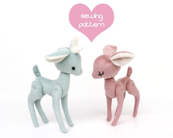 Plush sewing pattern PDF Deer Reindeer Pony stuffed animal - 2 sizes easy jointed artist teddy, DIY baby shower gift, easy kawaii decor