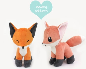 PDF sewing pattern - Baby Fox stuffed animal with video tutorials - chibi kawaii wolf Pokemon plushie DIY canine dog plush 12""