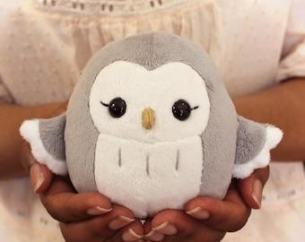 Plush sewing pattern PDF Owl stuffed animal handheld size - kawaii round easy chibi cute DIY stuffie, nursery decor, baby shower gift