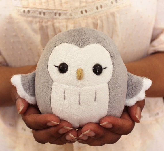 Rowlet plush for sale and sewing template – owl's tea party.