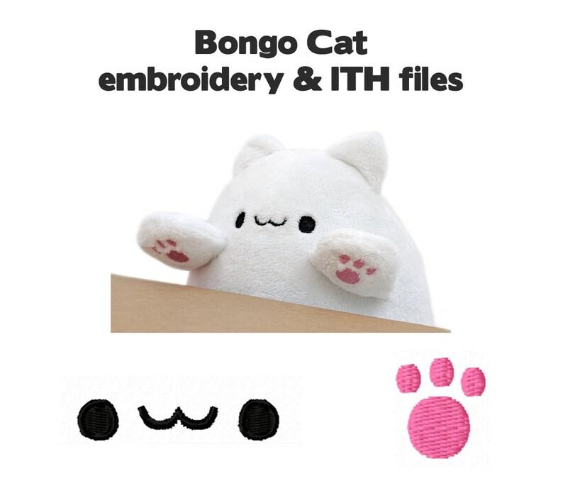 Embroidery machine files  Bongo Cat kawaii plush face paws image 0