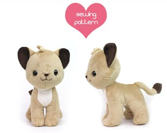 "PDF sewing pattern - Lion Cub stuffed animal - chibi cat feline Pokemon standing plushie 10"" large kawaii collectible high quality"