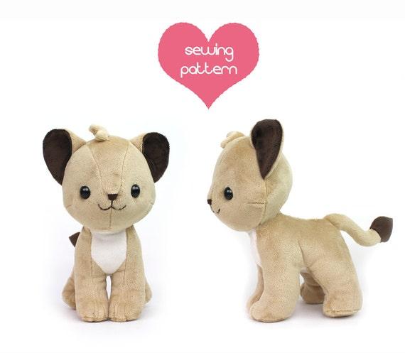 PDF sewing pattern Lion Cub stuffed animal chibi cat | Etsy