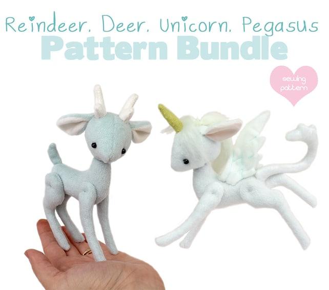 Pdf Sewing Pattern Bundle Deer Reindeer Unicorn Pegasus Etsy