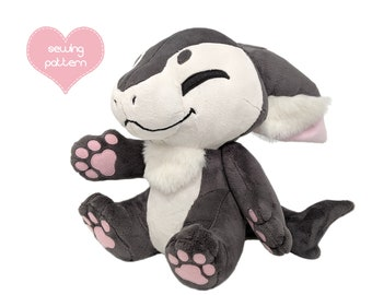 Plush sewing pattern PDF Furry Anthro stuffed animal - Manokit plushie fursuit tag-along dragon fox wolf dog shape soft toy DIY with videos