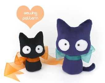 PDF sewing pattern - Scaredy Cat stuffed animal 2 sizes plush - easy beginner Halloween kitten beanie cute plushie TeacupLion