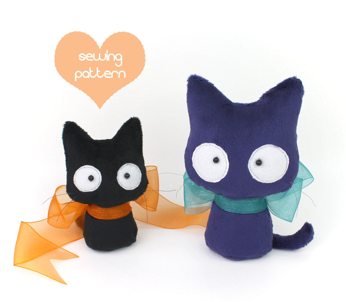 Pdf Sewing Pattern Halloween Black Cat Stuffed Animal 2 Etsy