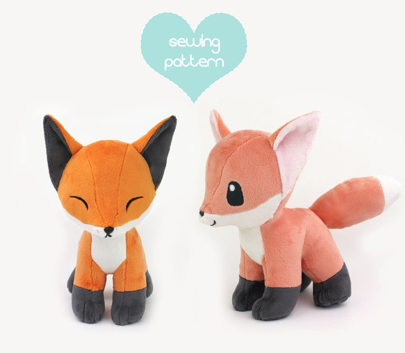 Pdf Sewing Pattern Fox Stuffed Animal With Video Tutorial Chibi Kawaii Wolf Pokemon Plushie Canine Dog Plush Fursuit Furry Anthro Toy