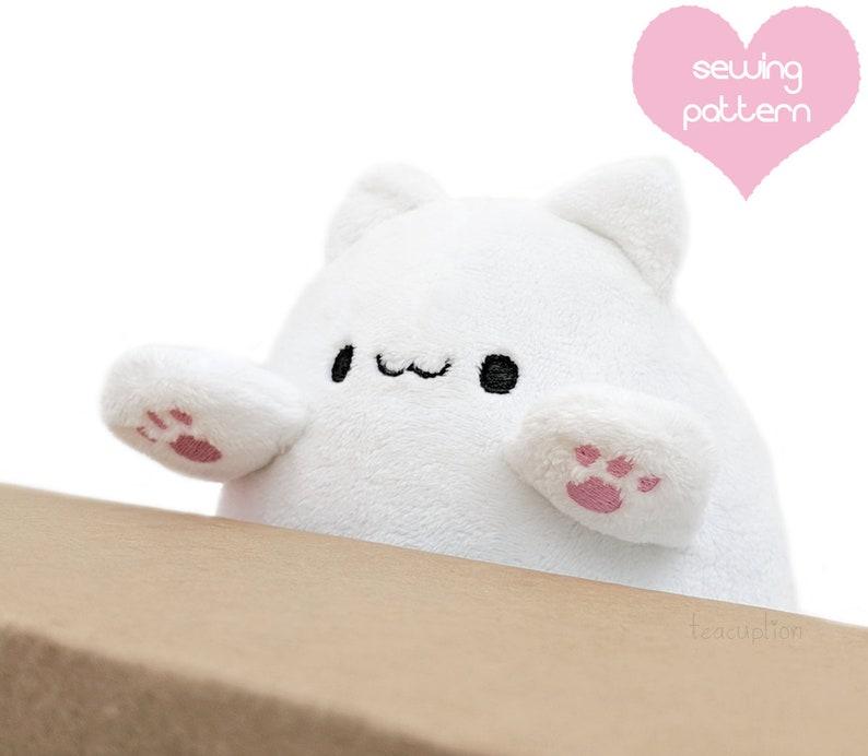 Plush sewing pattern PDF Bongo Cat stuffed animal plushie  image 0