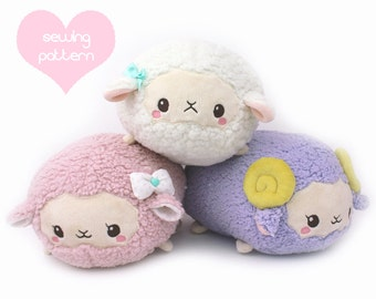 PDF sewing pattern - Sheep Roll plush stacking loaf plushie with video - easy kawaii stuffed animal lamb ram alpaca llama plush 11""