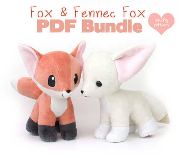 30% OFF PDF sewing pattern bundle Fox and Fennec stuffed | Etsy