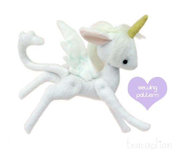 Pdf Sewing Pattern Pocket Unicorn Pegasus Stuffed Animal Etsy