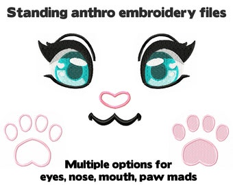 Embroidery machine files - Anthro Standing plush design - Eyes, muzzle, arm and foot paw pads - furry anime face for plushie stuffed animal