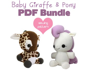 "PDF sewing pattern bundle - Giraffe and My Little Pony Unicorn Pegasus stuffed animal plush - kawaii anime plushie large 13"" and 18"""