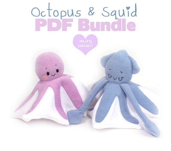 28 Off Pdf Sewing Pattern Bundle Squid Octopus Lovey Etsy