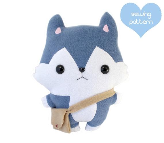 PDF sewing pattern Wolf Husky stuffed animal cuddle pillow | Etsy
