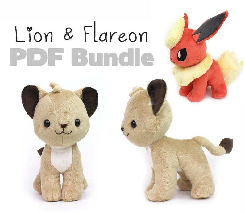 Plush sewing pattern PDF  Lion Cub and Flareon Pokemon image 0