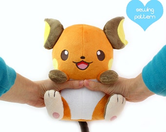"PDF sewing pattern - kawaii anime chibi plush - plushie 11"" large stuffed animal anime sewing project for high quality designs"