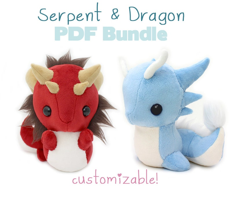 PDF sewing pattern with videos Snake and Dragon stuffed  8853eaa223