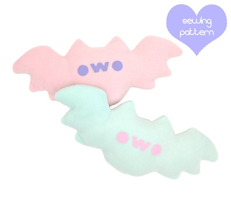 Plush sewing pattern PDF Bat stuffed animal  kawaii soft toy image 0