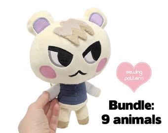Plush sewing pattern PDF Animal Crossing bundle - Plushie Marshal squirrel, cat, bunny, bear, koala, duck, pig, frog, hamster anthro furry