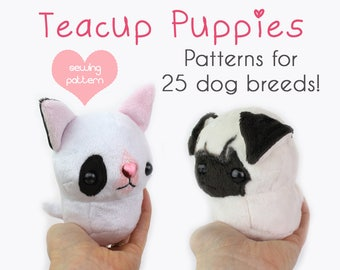"PDF sewing pattern - Teacup Puppy dog stuffed animal plush with VIDEOS - 25 breeds 4.5"" plushie kawaii collie husky shiba bulldog terrier"
