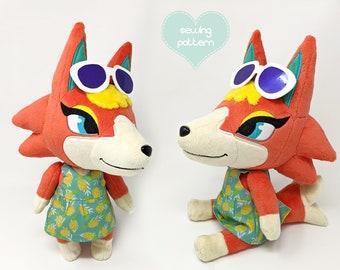 Plush sewing pattern PDF Animal Crossing - Audie wolf anthro furry fox dog canine plushie kawaii stuffed animal 14inch jointed