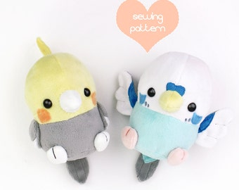 "PDF sewing pattern - Baby Bird stuffed animal - kawaii Cockatiel Parakeet chibi plush plushie 6"" Robin Sparrow Crow Chicken Pokemon"