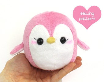 "PDF sewing pattern - Penguin stuffed animal - easy kawaii cute anime plushie DIY plush toy 4.5"" TeacupLion"