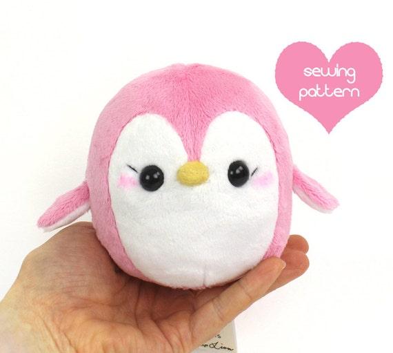 PDF sewing pattern Penguin stuffed animal easy kawaii cute