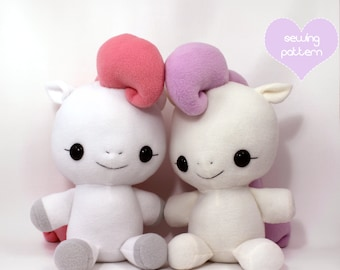 PDF sewing pattern - Pony Horse Unicorn Pegasus stuffed animal - cute kawaii anime soft toy plush plushie MLP my little pony 18""