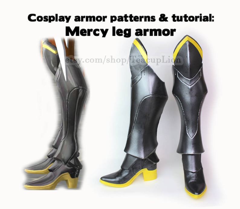 Printable Mercy cosplay armor pattern and tutorial - boot shoes greaves  foam - video game digital costume boots