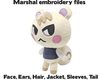 Embroidery machine files - Marshal Animal Crossing plush design - Face, ears, hair, jacket, sleeves, tail - kawaii plushie stuffed animal