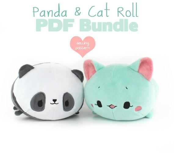 PDF-Schnittmuster Bundle Panda und Katze Rolle Laib Stapeln