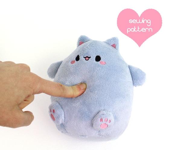 PDF sewing pattern Kawaii Fat Cat puff plushie round | Etsy